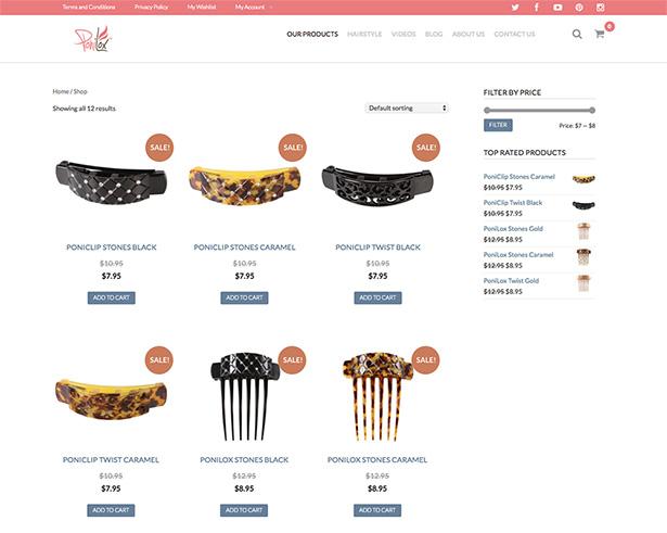 Ponilox woocommerce shop page
